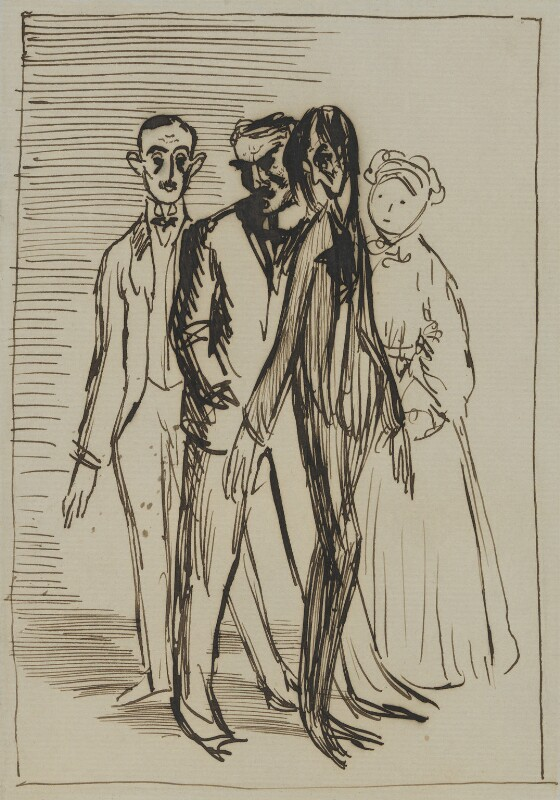 Sir Hugh Percy Lane; John Millington Synge; W.B. Yeats; Isabella Augusta (née Persse), Lady Gregory, by Sir William Orpen, 1907 - NPG 4676 - © National Portrait Gallery, London