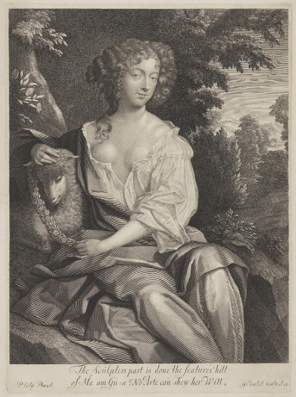 Nell Gwyn, by Gerard Valck, after  Sir Peter Lely,  - NPG 3811 - © National Portrait Gallery, London