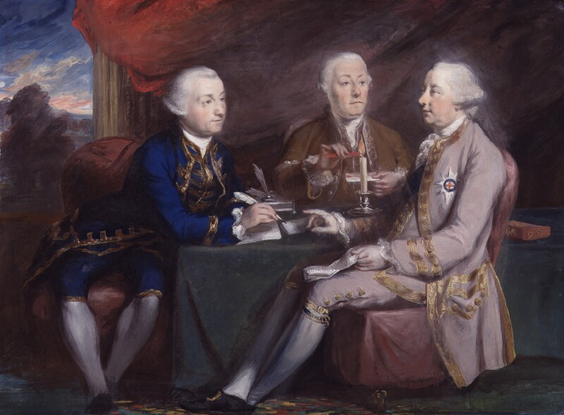 Lord Halifax and his secretaries, attributed to Daniel Gardner, after  Hugh Douglas Hamilton, circa 1765-1767 - NPG 3328 - © National Portrait Gallery, London