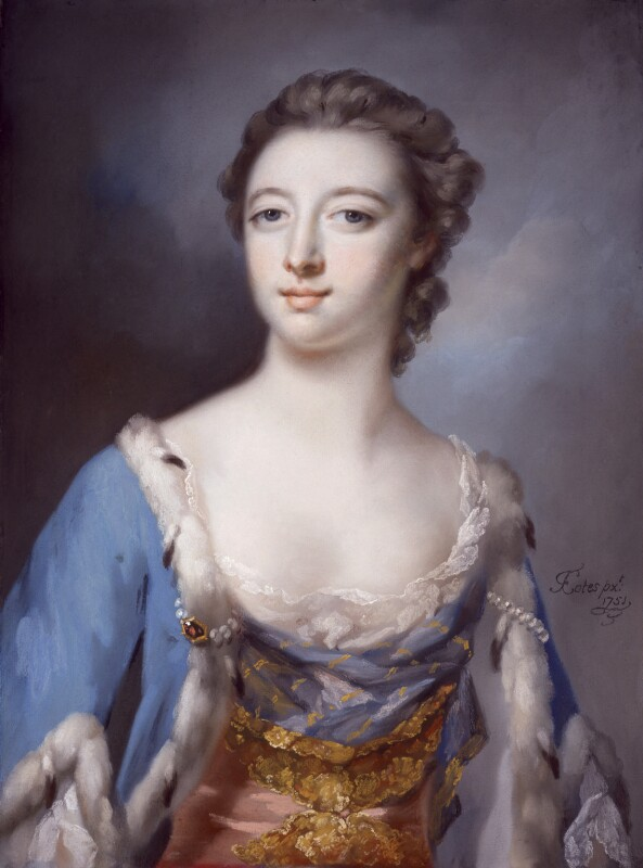 Elizabeth (née Gunning), Baroness Hamilton of Hameldon, by Francis Cotes, 1751 -NPG 4890 - © National Portrait Gallery, London
