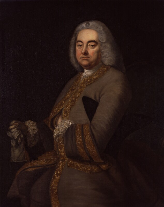 George Frideric Handel, by Thomas Hudson, 1756-1800, based on a work of 1756 -NPG 8 - © National Portrait Gallery, London