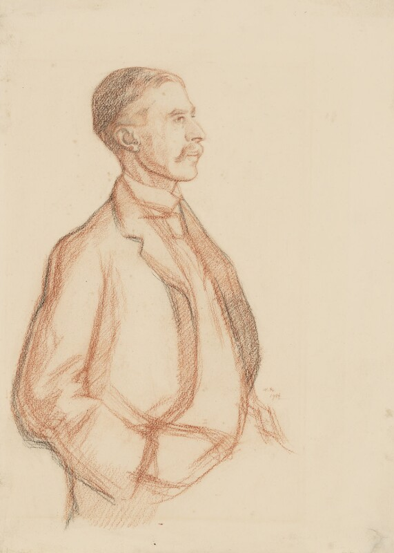A.E. Housman, by Sir William Rothenstein, 1906 - NPG 3873 - © National Portrait Gallery, London