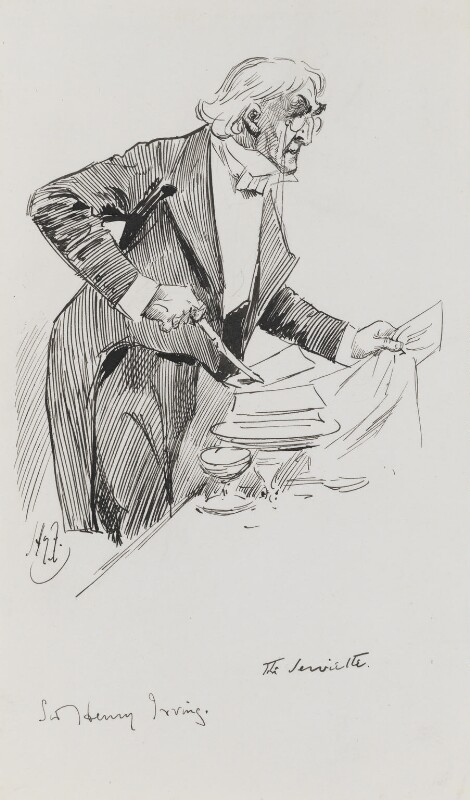 Sir Henry Irving, by Harry Furniss, late 1890s-early 1900s -NPG 3471 - © National Portrait Gallery, London