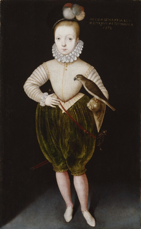 King James I of England and VI of Scotland, by Unknown artist, late 16th century, based on a work of 1574 - NPG 63 - © National Portrait Gallery, London