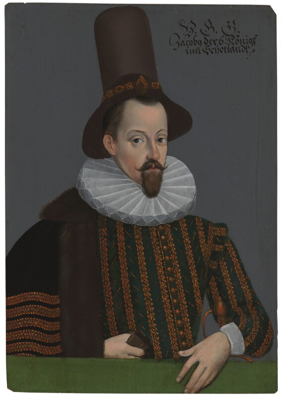 King James I of England and VI of Scotland, by Unknown artist, circa 1590 - NPG 1188 - © National Portrait Gallery, London