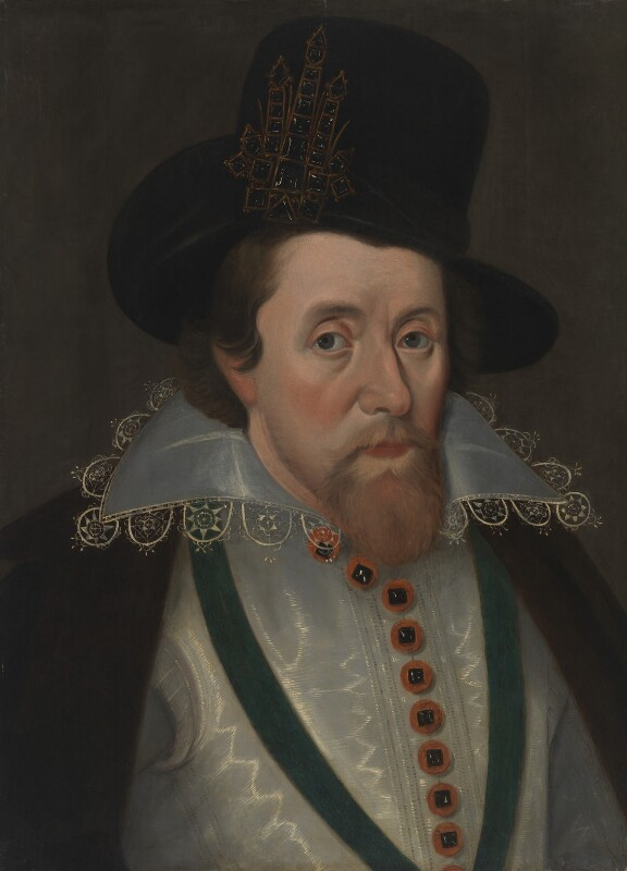 King James I of England and VI of Scotland, after John De Critz the Elder, early 17th century, based on a work of circa 1606 - NPG 548 - © National Portrait Gallery, London