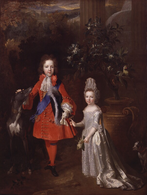 Prince James Francis Edward Stuart; Princess Louisa Maria Theresa Stuart, by Nicolas de Largillière, 1695 - NPG 976 - © National Portrait Gallery, London