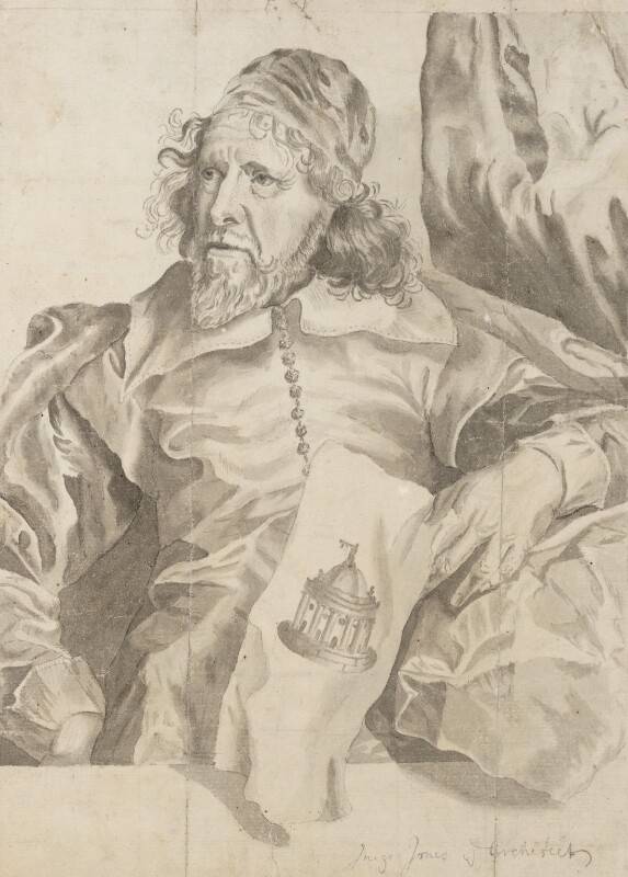 Inigo Jones, after an engraving by Robert van Voerst, after  Sir Anthony van Dyck,  - NPG 3128 - © National Portrait Gallery, London