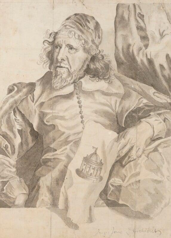Inigo Jones, after an engraving by Robert van Voerst, after  Sir Anthony van Dyck,  - NPG 3128 - © National Portrait Gallery, London
