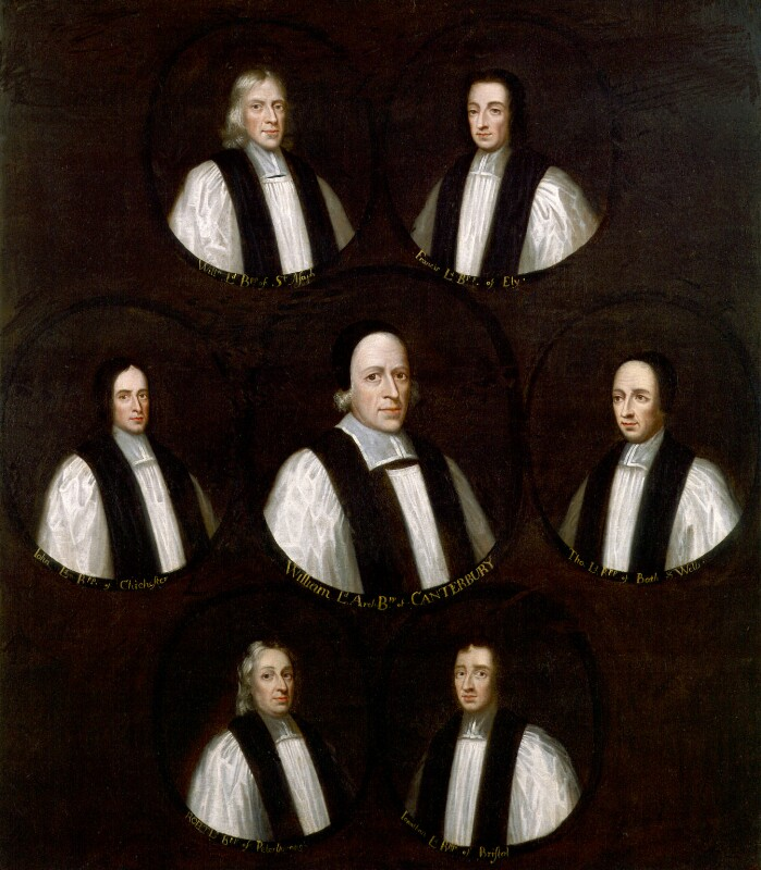 The Seven Bishops Committed to the Tower in 1688, by Unknown artist, based on a work of circa 1689 - NPG 79 - © National Portrait Gallery, London