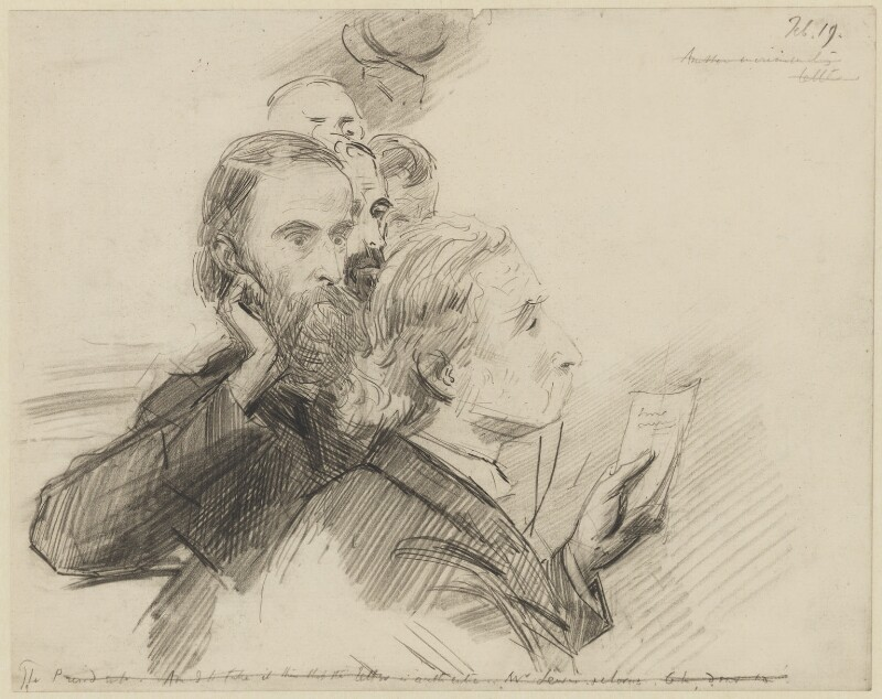 Group including Charles Stewart Parnell and Sir George Henry Lewis, by Sydney Prior Hall, published in The Graphic 2 March 1889 - NPG 2243 - © National Portrait Gallery, London