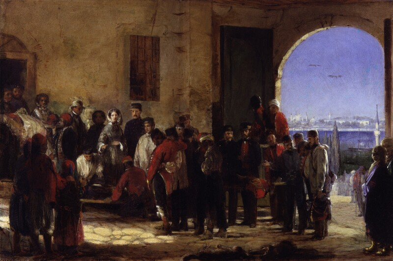 Florence Nightingale receiving the Wounded at Scutari', by Jerry Barrett, 1856 -NPG 4305 - © National Portrait Gallery, London