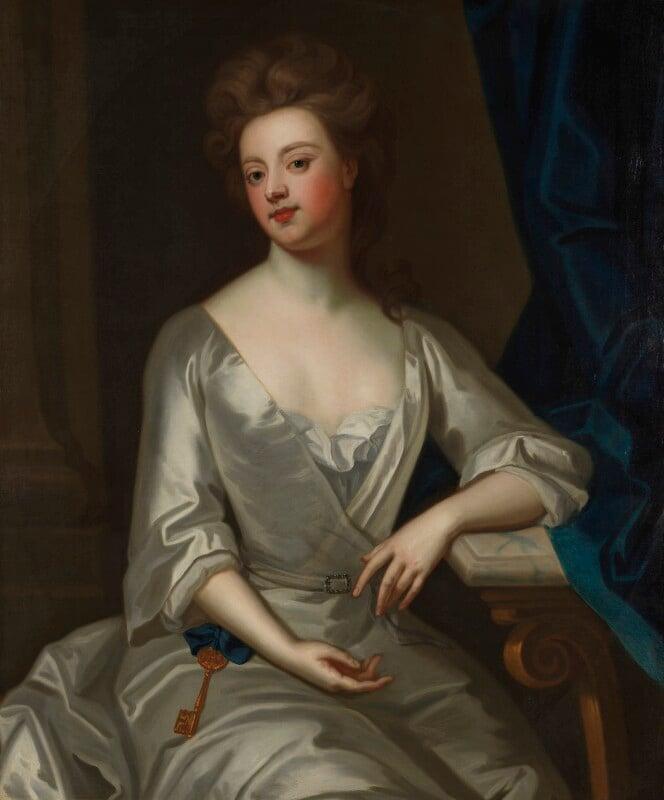 Sarah Churchill (née Jenyns (Jennings)), Duchess of Marlborough, after Sir Godfrey Kneller, Bt, circa 1702, based on a work of circa 1702 - NPG 3634 - © National Portrait Gallery, London