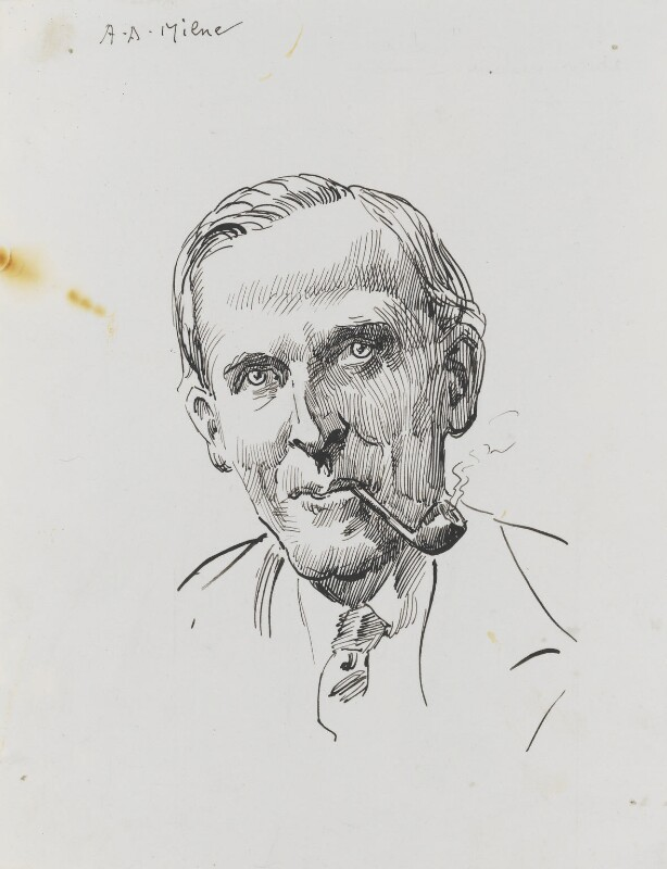 A.A. Milne, by Harry Furniss, 1880s-1900s - NPG 3493 - © National Portrait Gallery, London