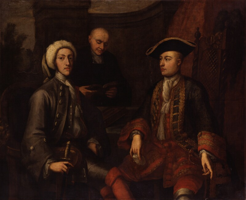 Three unknown men, of which two formerly known as John Montagu, 2nd Duke of Montagu, James O'Hara, 2nd Baron Tyrawley, by John Verelst, 1712 -NPG 2034 - © National Portrait Gallery, London