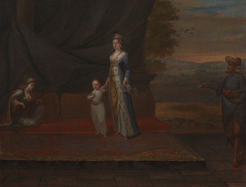 Lady Mary Wortley Montagu with her son, Edward Wortley Montagu, and attendants, attributed to Jean Baptiste Vanmour, circa 1717 - NPG 3924 - © National Portrait Gallery, London