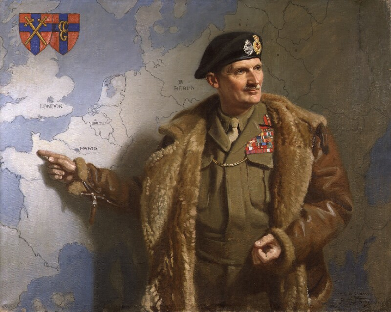 Bernard Law Montgomery, 1st Viscount Montgomery of Alamein, by Frank Salisbury, 1945 - NPG L165 - © private collection; on loan to the National Portrait Gallery, London