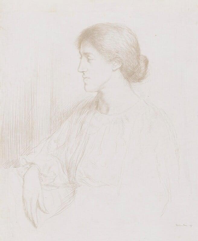 May Morris, by Sir William Rothenstein, 1897 - NPG 3049 - © National Portrait Gallery, London