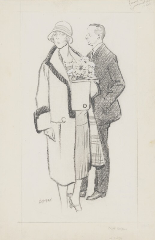 Lady Diana Cooper (Diana (née Manners), Viscountess Norwich); (Alfred) Duff Cooper, 1st Viscount Norwich, by Sir David Low, published 1927 - NPG 4560 - © Solo Syndication Ltd