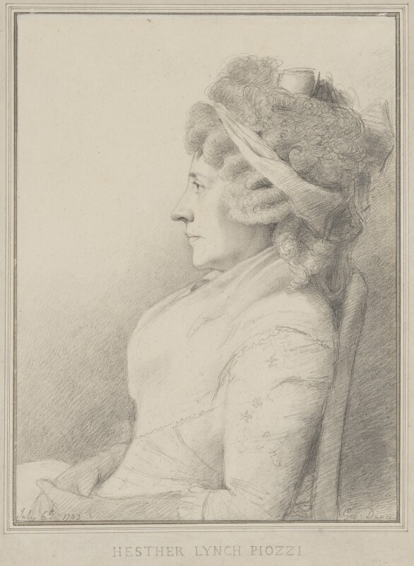 Hester Lynch Piozzi (née Salusbury, later Mrs Thrale), by George Dance, 1793 -NPG 1151 - © National Portrait Gallery, London