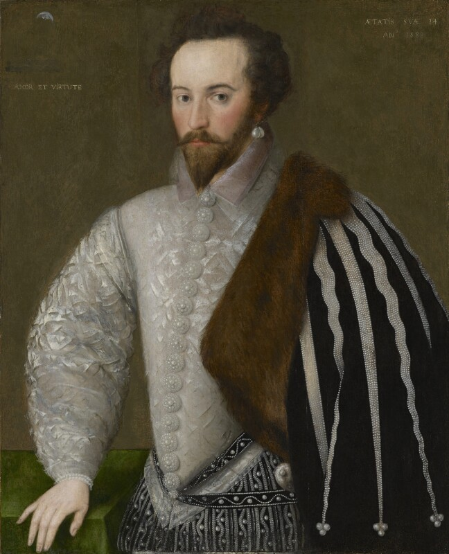 Sir Walter Ralegh (Raleigh) (Raleigh), by Unknown English artist, 1588 - NPG 7 - © National Portrait Gallery, London