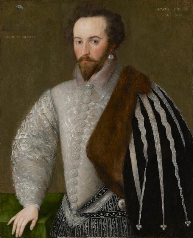 Sir Walter Ralegh (Raleigh), by Unknown English artist, 1588 - NPG 7 - © National Portrait Gallery, London