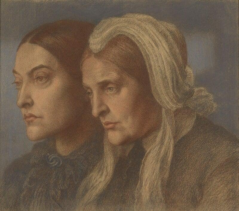 Christina Georgina Rossetti; Frances Mary Lavinia Rossetti (née Polidori), by Dante Gabriel Rossetti, 1877 - NPG 990 - © National Portrait Gallery, London