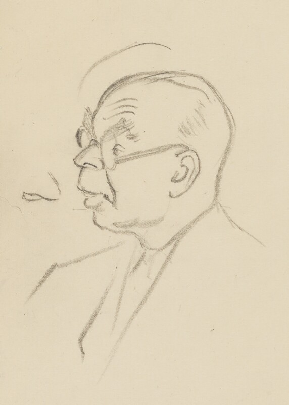 John Rothenstein, by Sir David Low, 1949 or before - NPG 4529(316) - © Solo Syndication Ltd