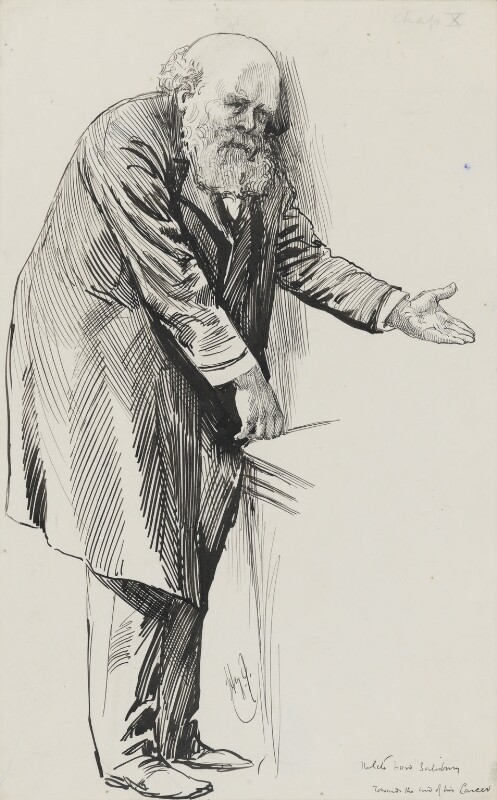 Robert Gascoyne-Cecil, 3rd Marquess of Salisbury, by Harry Furniss, 1880s-1900s - NPG 3410 - © National Portrait Gallery, London