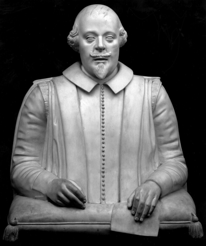 William Shakespeare, after Gerard Johnson, early 20th century, from a mid 19th century mould of a work of circa 1620 - NPG 1735 - © National Portrait Gallery, London