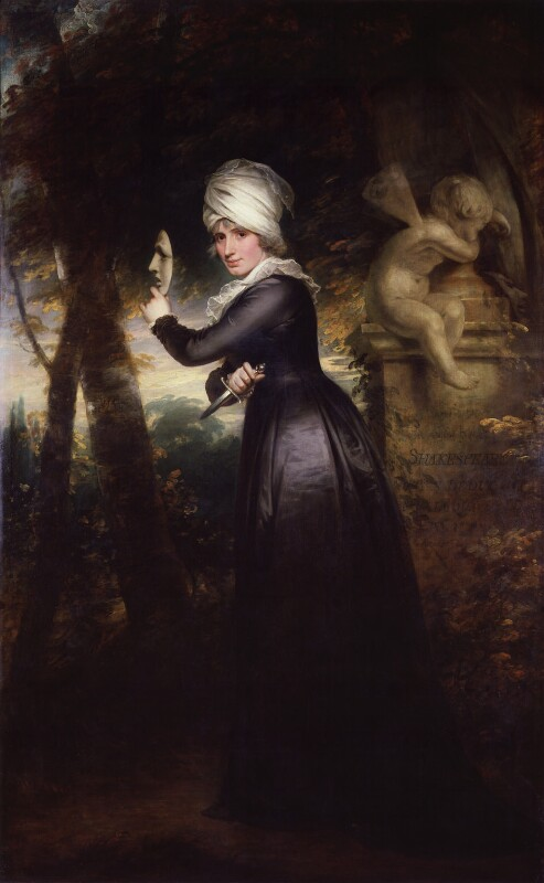 Sarah Siddons (née Kemble) ('Mrs Siddons with the Emblems of Tragedy'), by Sir William Beechey, 1793 - NPG 5159 - © National Portrait Gallery, London