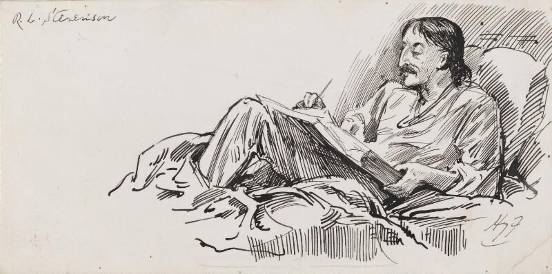 Robert Louis Stevenson, by Harry Furniss,  - NPG 3518 - © National Portrait Gallery, London