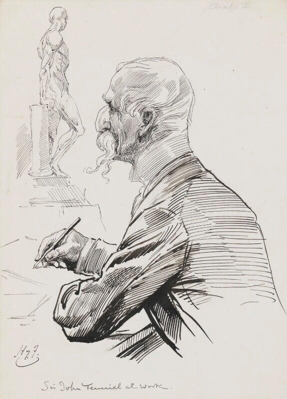 Sir John Tenniel, by Harry Furniss, 1880s-1900s - NPG 3526 - © National Portrait Gallery, London