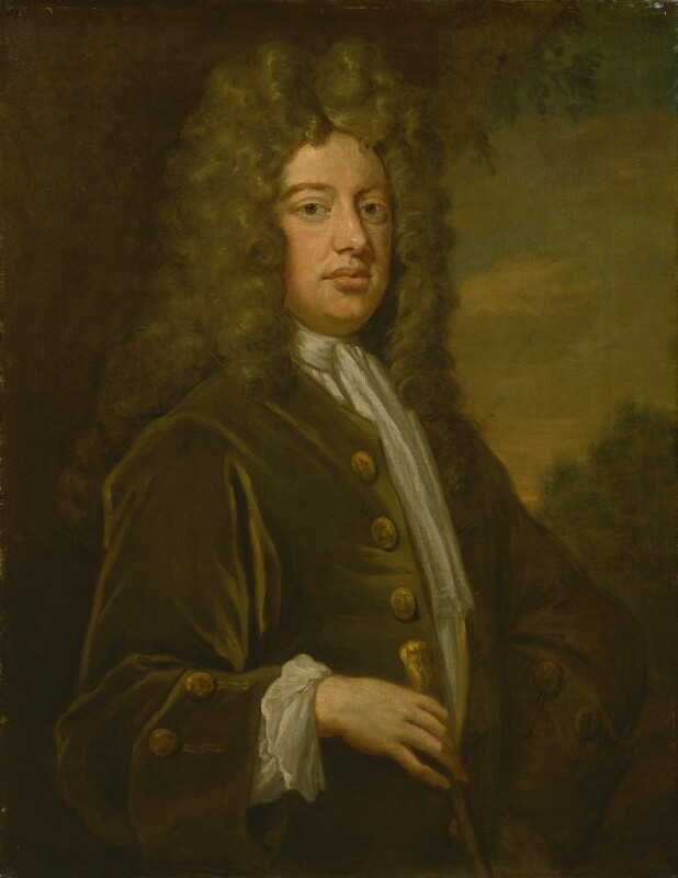 William Walsh, by Sir Godfrey Kneller, Bt; studio of Sir Godfrey Kneller, Bt, circa 1708 -NPG 3232 - © National Portrait Gallery, London