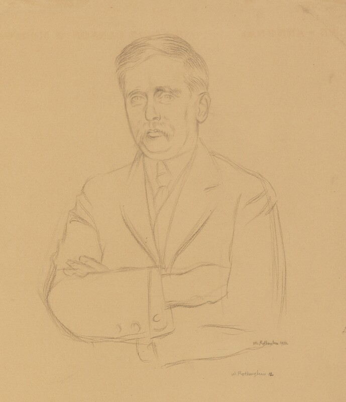 H.G. Wells, by Sir William Rothenstein, 1912 - NPG 4644 - © National Portrait Gallery, London