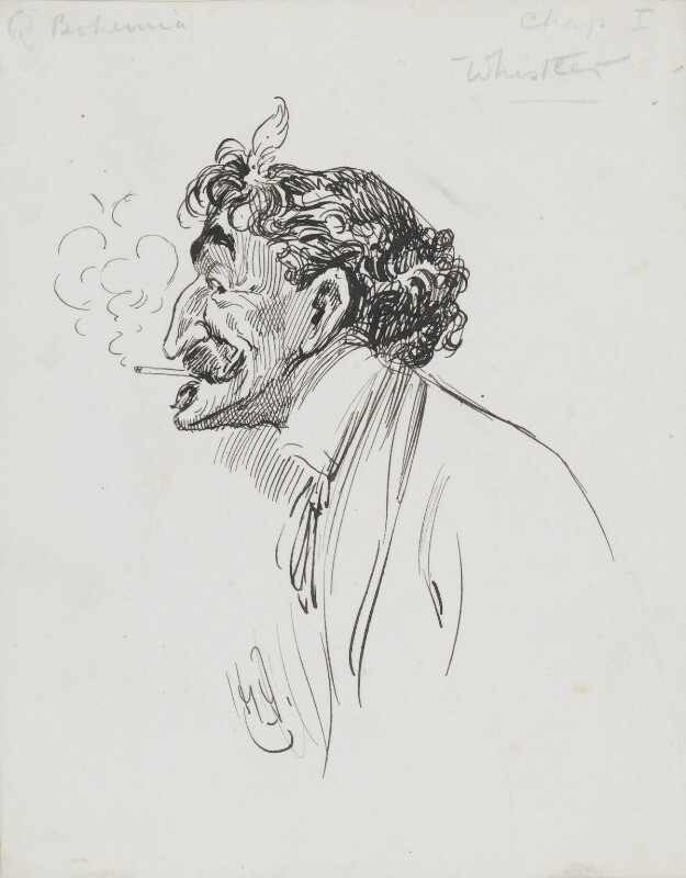 James Abbott McNeill Whistler, by Harry Furniss, 1880s-1900s - NPG 3618 - © National Portrait Gallery, London