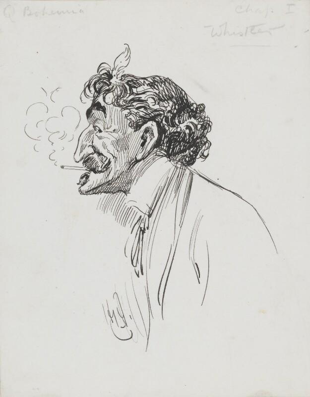 James Abbott McNeill Whistler, by Harry Furniss, 1880s-1900s - NPG 3618 - © National Portrait Gallery, London