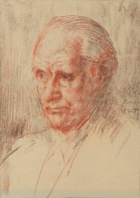 Sir (Ralph) Norman Angell (né Ralph Norman Angell Lane), by Augustus Edwin John, 1955 - NPG 6084 - © National Portrait Gallery, London