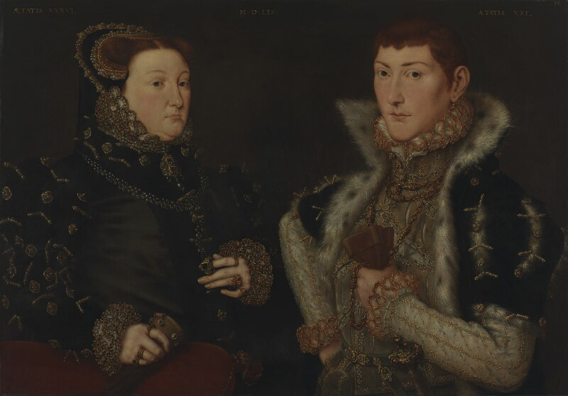 Mary Neville, Lady Dacre; Gregory Fiennes, 10th Baron Dacre, by Hans Eworth, 1559 - NPG 6855 - © National Portrait Gallery, London