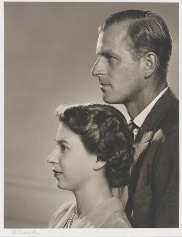 Queen Elizabeth II; Prince Philip, Duke of Edinburgh, by Yousuf Karsh, 1951 - NPG P343 - © Karsh / Camera Press