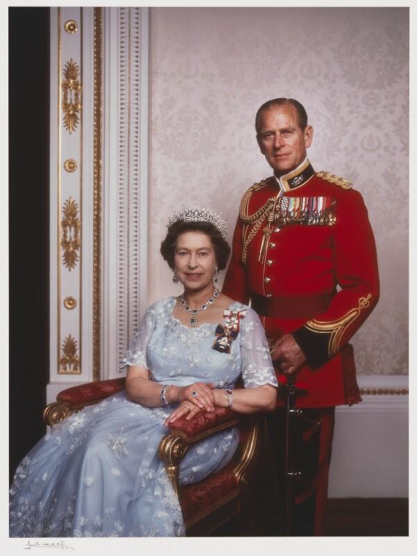 Queen Elizabeth II; Prince Philip, Duke of Edinburgh, by Yousuf Karsh, 1984 - NPG P346 - © Karsh / Camera Press