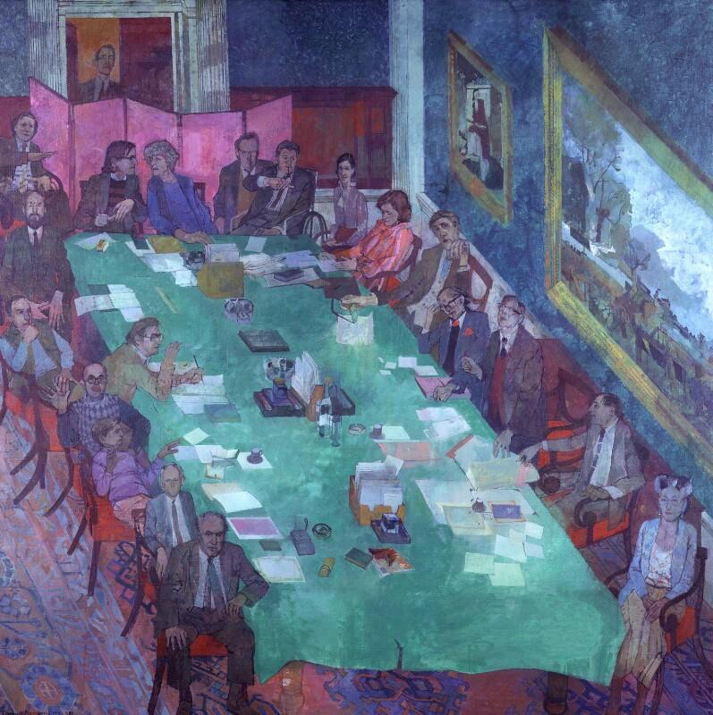 The Meeting, Royal Academy of Arts, by Leonard Rosoman, 1979-1984 - NPG 5740 - © National Portrait Gallery, London
