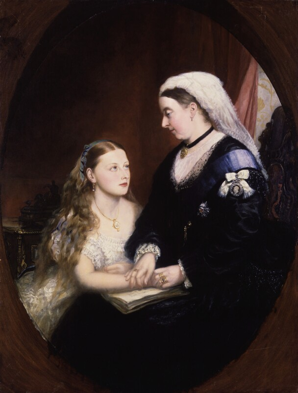 Princess Beatrice of Battenberg; Queen Victoria, by Unknown artist, late 1860s-early 1870s - NPG 5828 - © National Portrait Gallery, London