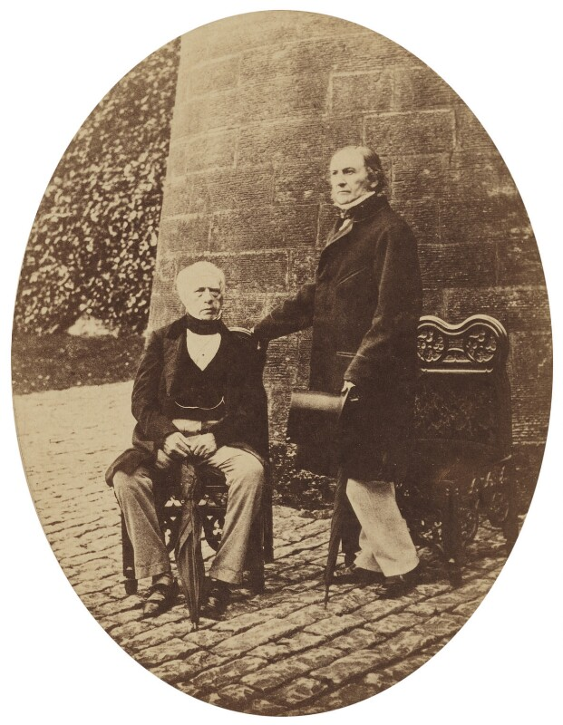 Henry Brougham, 1st Baron Brougham and Vaux; William Ewart Gladstone, by Unknown photographer, late 1850s - NPG P481 - © National Portrait Gallery, London