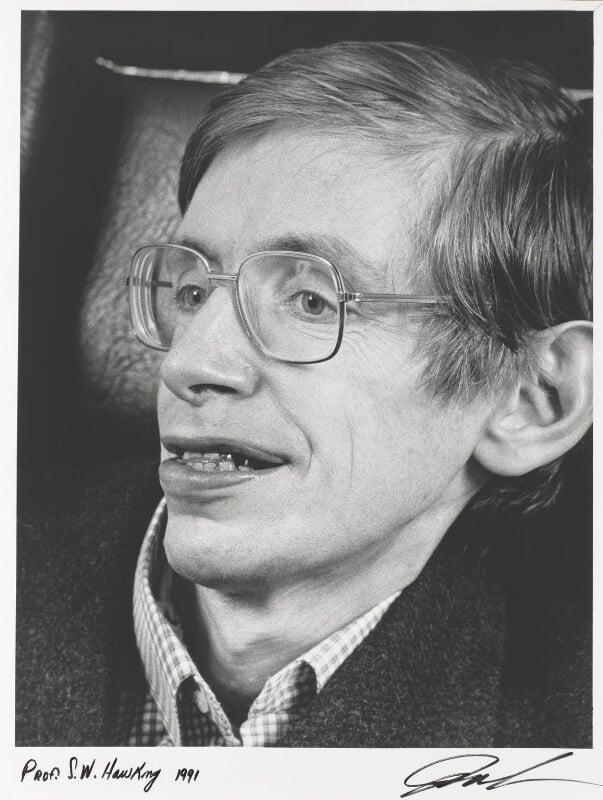 Stephen Hawking, by Juliet Van Otteren, 1991 - NPG P489 - © Juliet Van Otteren / National Portrait Gallery, London