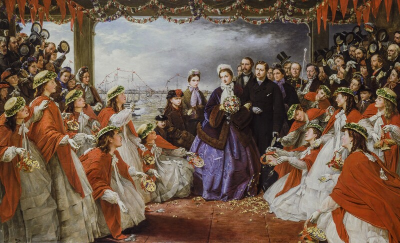 The Landing of HRH The Princess Alexandra at Gravesend, 7th March 1863, by Henry Nelson O'Neil, 1864 - NPG 5487 - © National Portrait Gallery, London