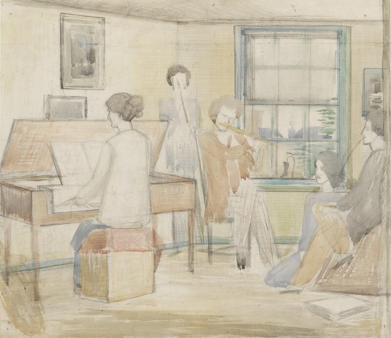 Musical Group (Madge Lee (née Pemberton); John Nash; Rupert Lee; Margaret Nash (née Odeh); Paul Nash), by Paul Nash, circa 1913 - NPG 5509 - © Paul Nash Trust