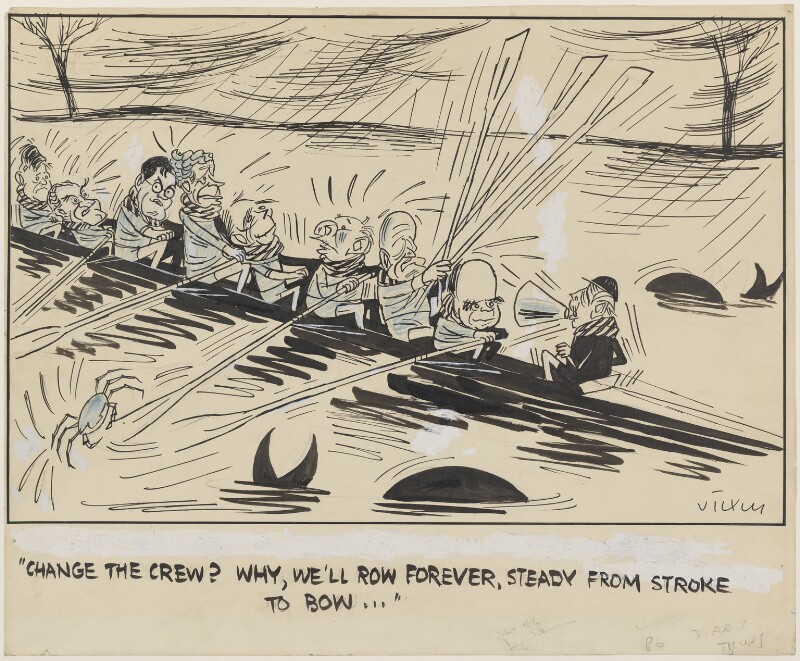 Change the crew?  Why we'll row forever, steady from stroke to bow, by Victor Weisz, published in Evening Standard 5 April 1962 - NPG 5351 - © Solo Syndication Ltd