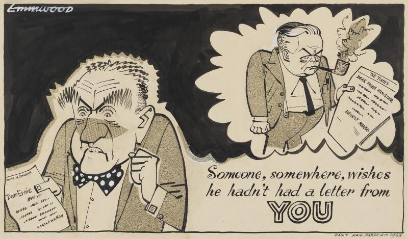 (Alfred) Ernest Marples, 1st Baron Marples; Harold Wilson, by John Musgrave-Wood ('Emmwood'), 1965 - NPG 5362 - © National Portrait Gallery, London