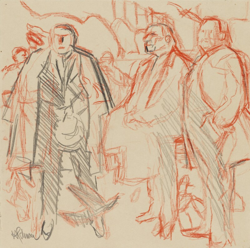 Trade Unionists (sketch) (Joe Gormley; Sidney Weighell; Thomas Jackson), by Hans Schwarz, 1984 - NPG 5793(4) - © National Portrait Gallery, London